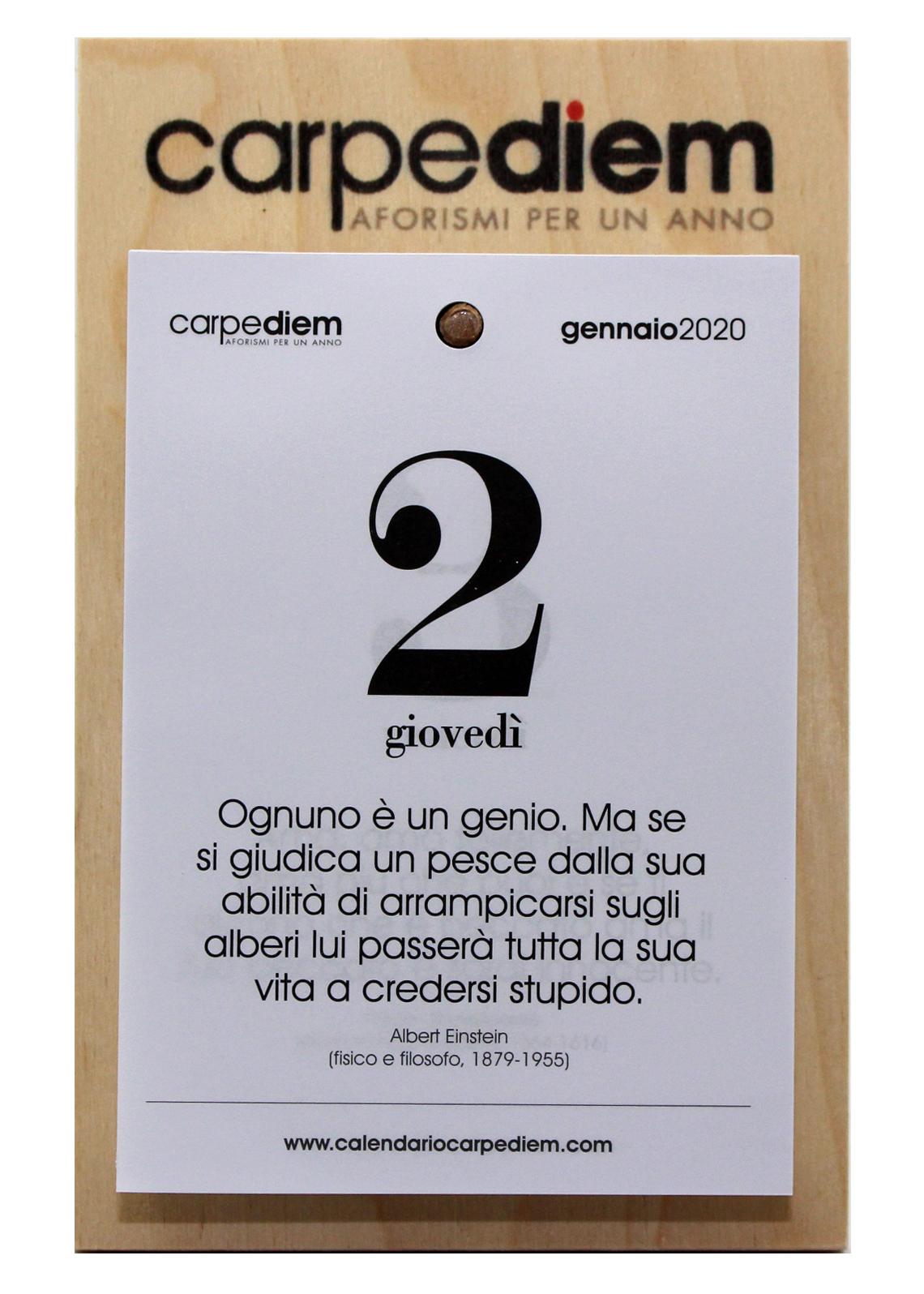 Calendario Filosofico 2020 Frasi.Carpe Diem Aforismi Per Un Anno 2020 Calendario Con Base In Legno