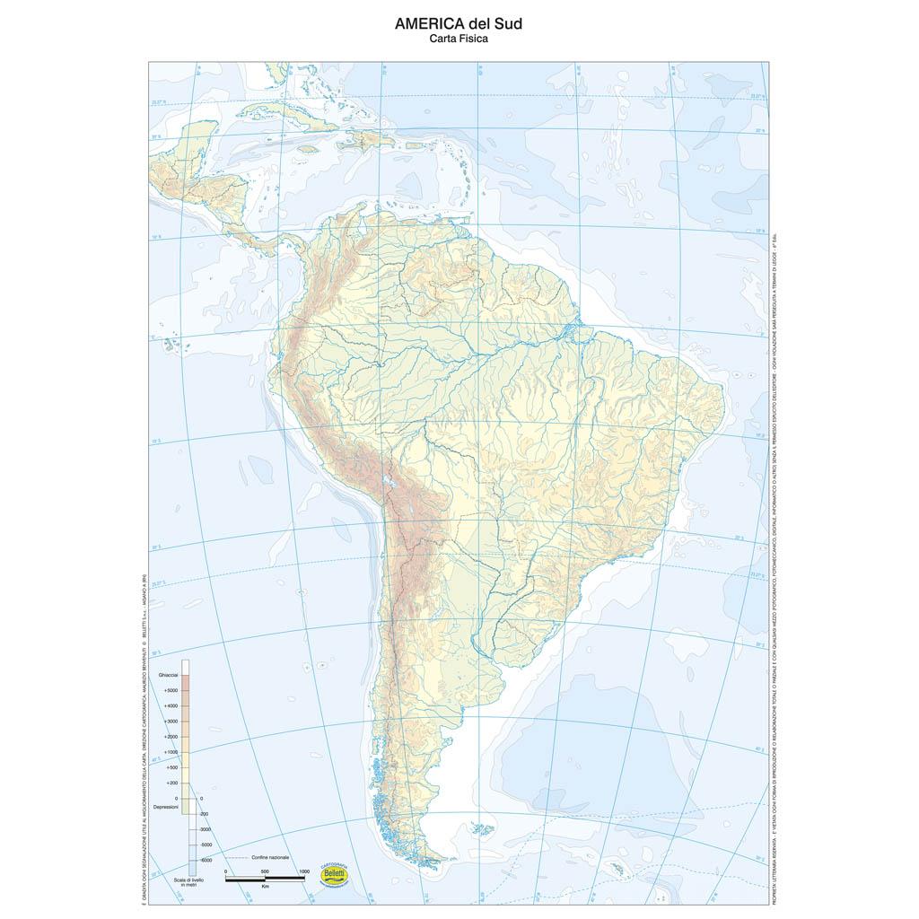Cartina Fisica Muta Usa.America Del Sud Scolastica Da Banco Muta