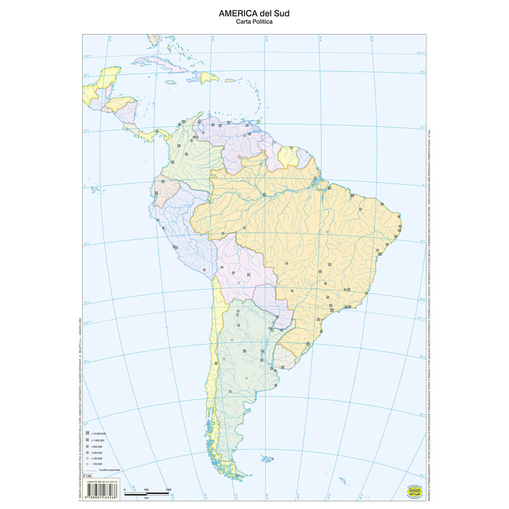 Cartina Politica Muta.America Del Sud Scolastica Da Banco Muta Belletti Editore