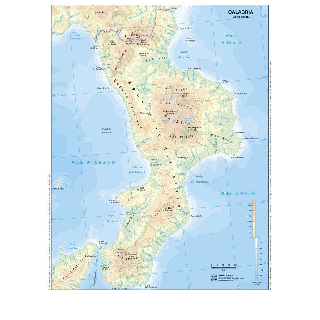 Cartina Geografica Della Calabria Fisica.Calabria Scolastica Da Banco