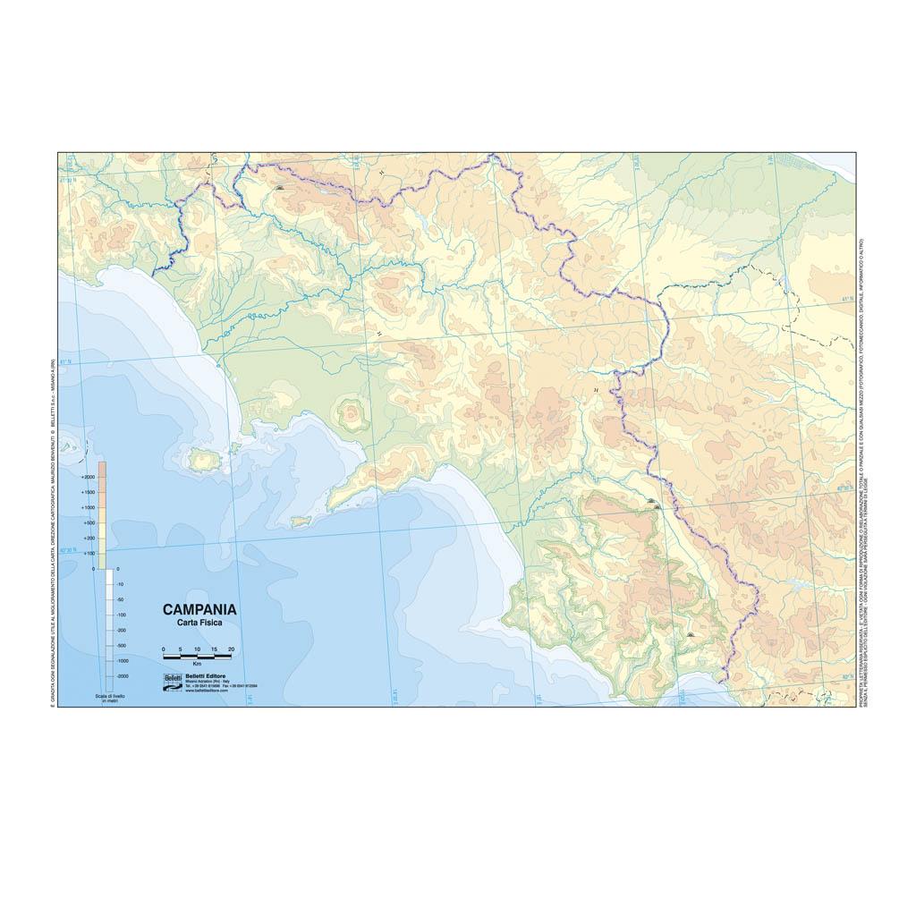 Cartina Fisica Muta.Campania Scolastica Da Banco Muta Belletti Editore