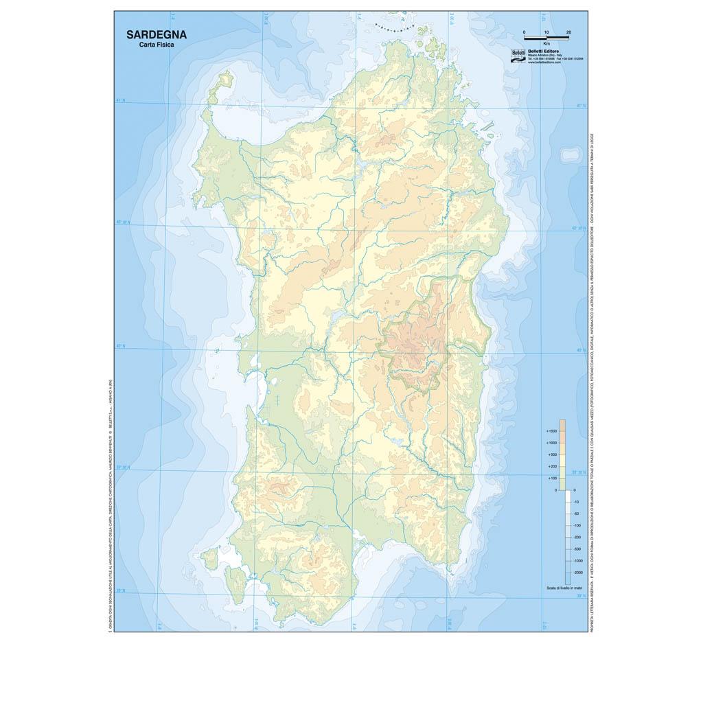 Cartina Muta Della Sardegna.Sardegna Scolastica Da Banco Muta Belletti Editore