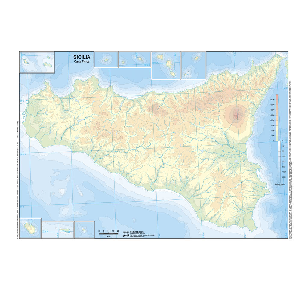 Cartina Sicilia Fisico Politica.Sicilia Scolastica Da Banco Muta Belletti Editore