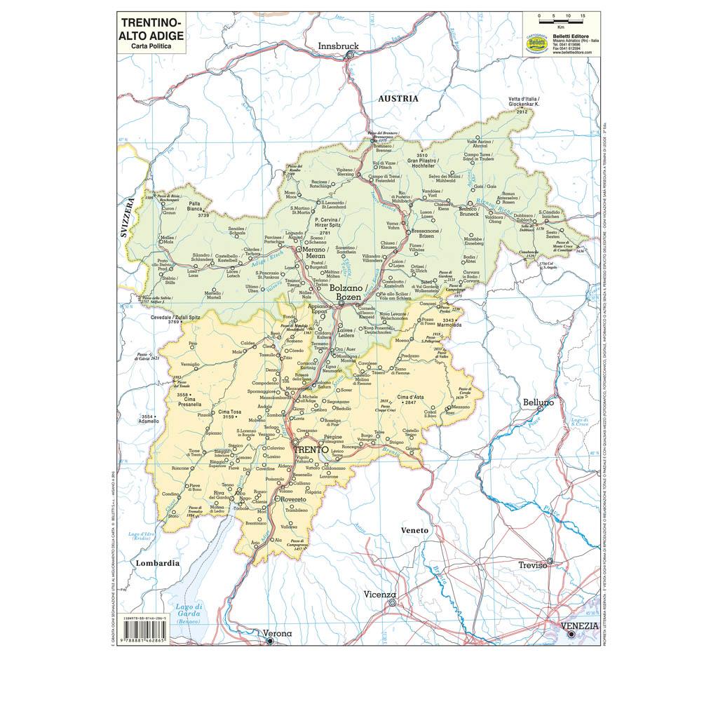 Trentino Alto Adige Cartina Fisica E Politica.Trentino Alto Adige Scolastica Da Banco Belletti Editore