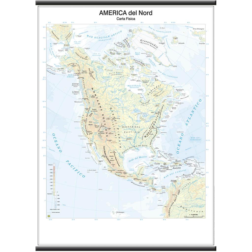 Cartina Geografica Haiti.Carta Geografica Fisica America Del Nord