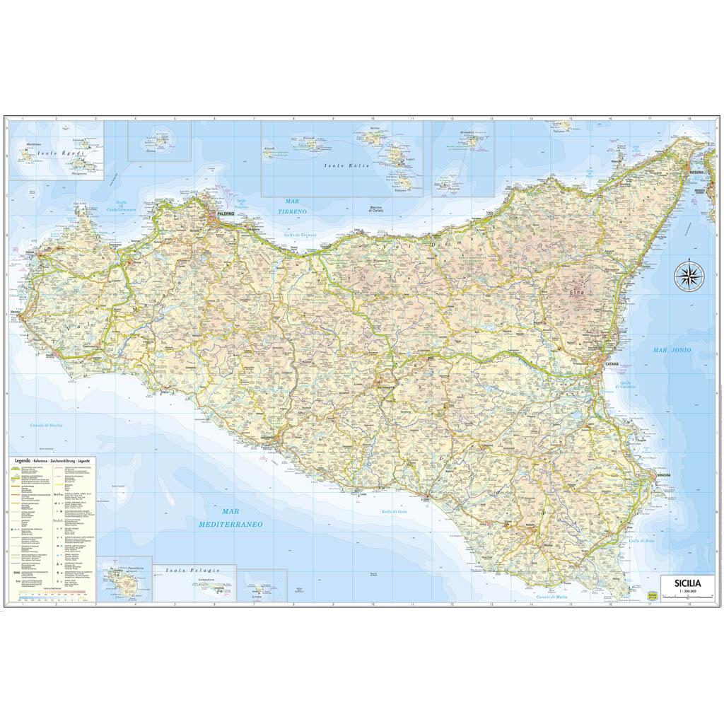 Cartina Strade Sicilia.Sicilia Belletti Editore