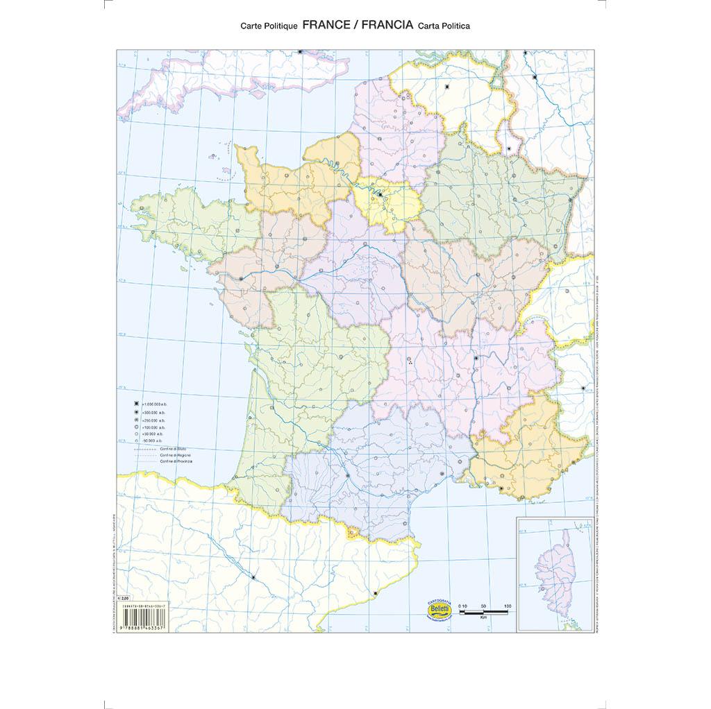 Cartina Politica Francia Con Regioni E Capoluoghi.France Francia Scolastica Da Banco Muta Belletti Editore