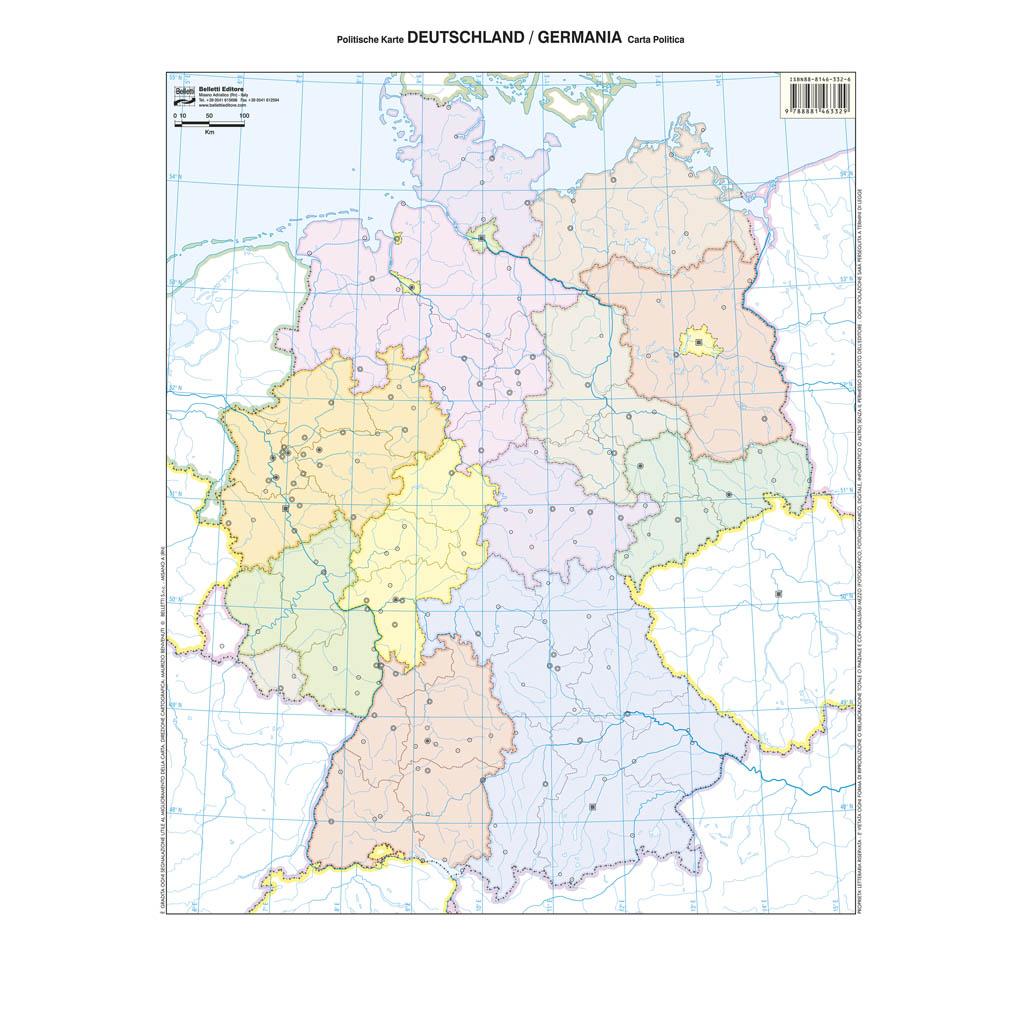 Cartina Muta Germania Fisica.Deutschland Germania Scolastica Da Banco Muta Belletti Editore